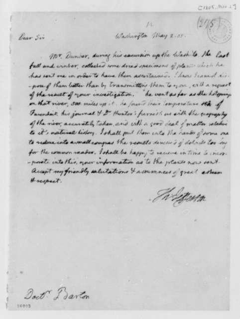 Thomas Jefferson to Benjamin Smith Barton, May 2, 1805