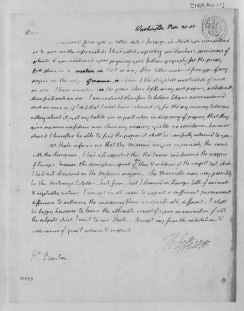 Thomas Jefferson to Benjamin Smith Barton, November 21, 1805