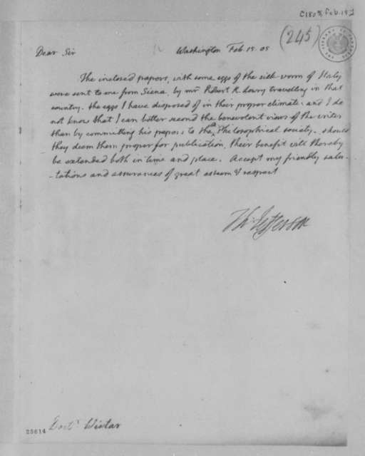 Thomas Jefferson to Caspar Wistar, February 15, 1805