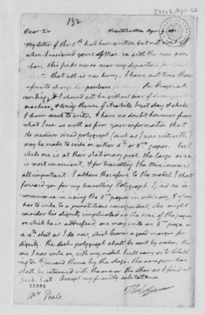 Thomas Jefferson to Charles Willson Peale, April 9, 1805