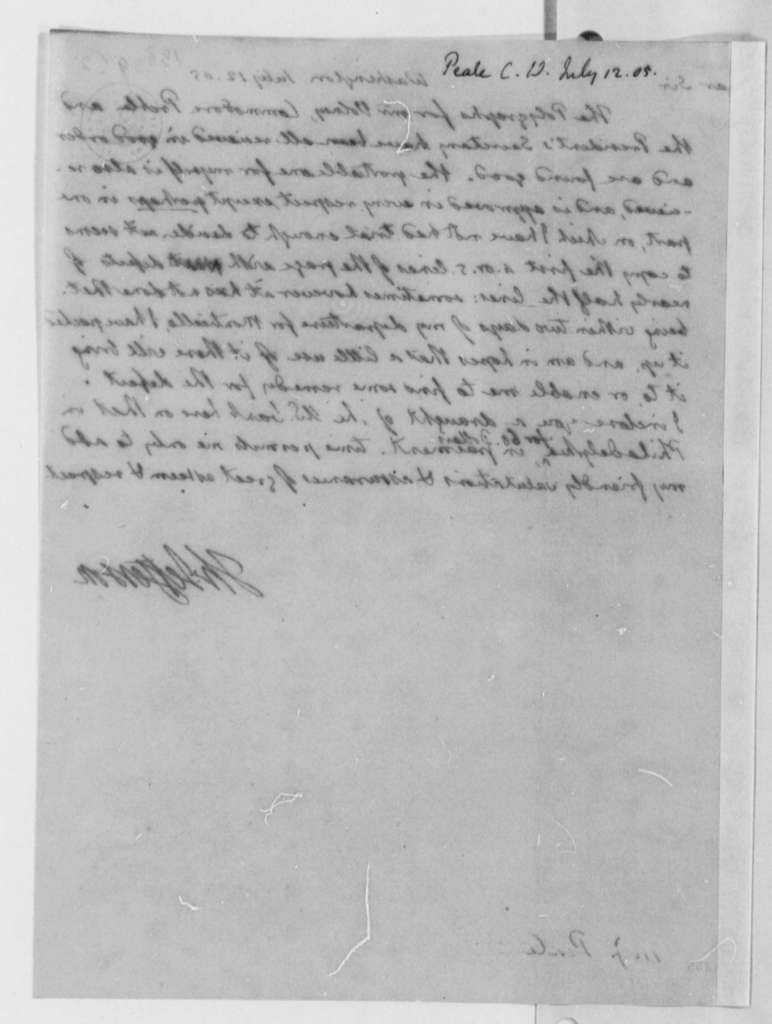 Thomas Jefferson to Charles Willson Peale, July 12, 1805