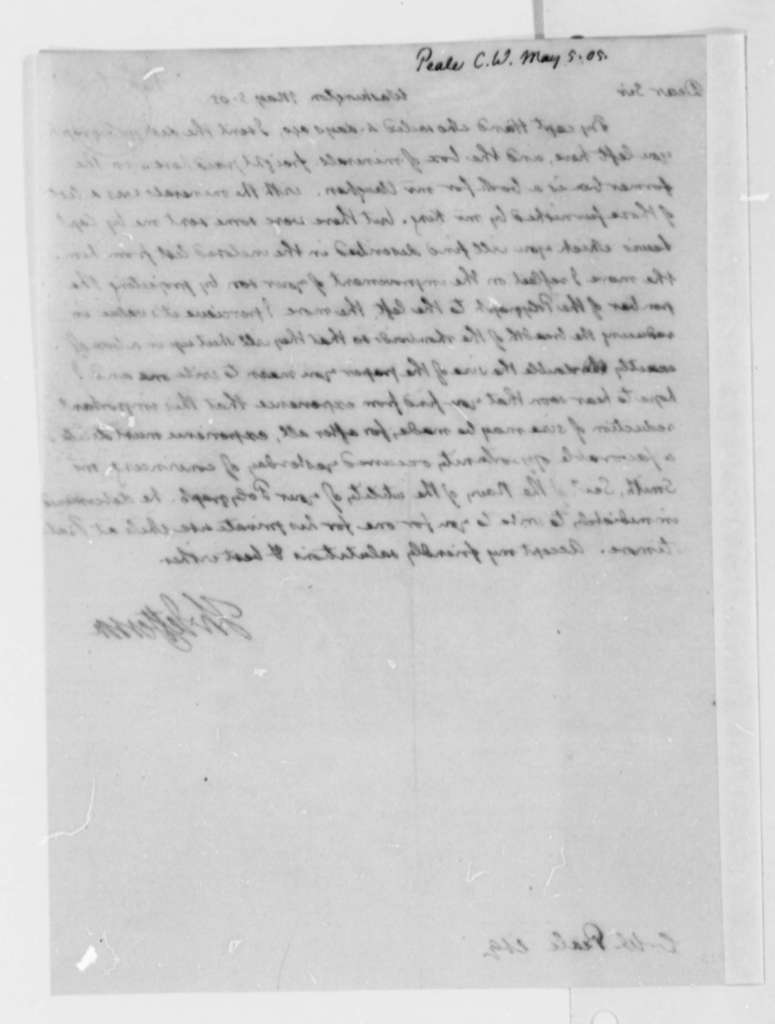Thomas Jefferson to Charles Willson Peale, May 5, 1805
