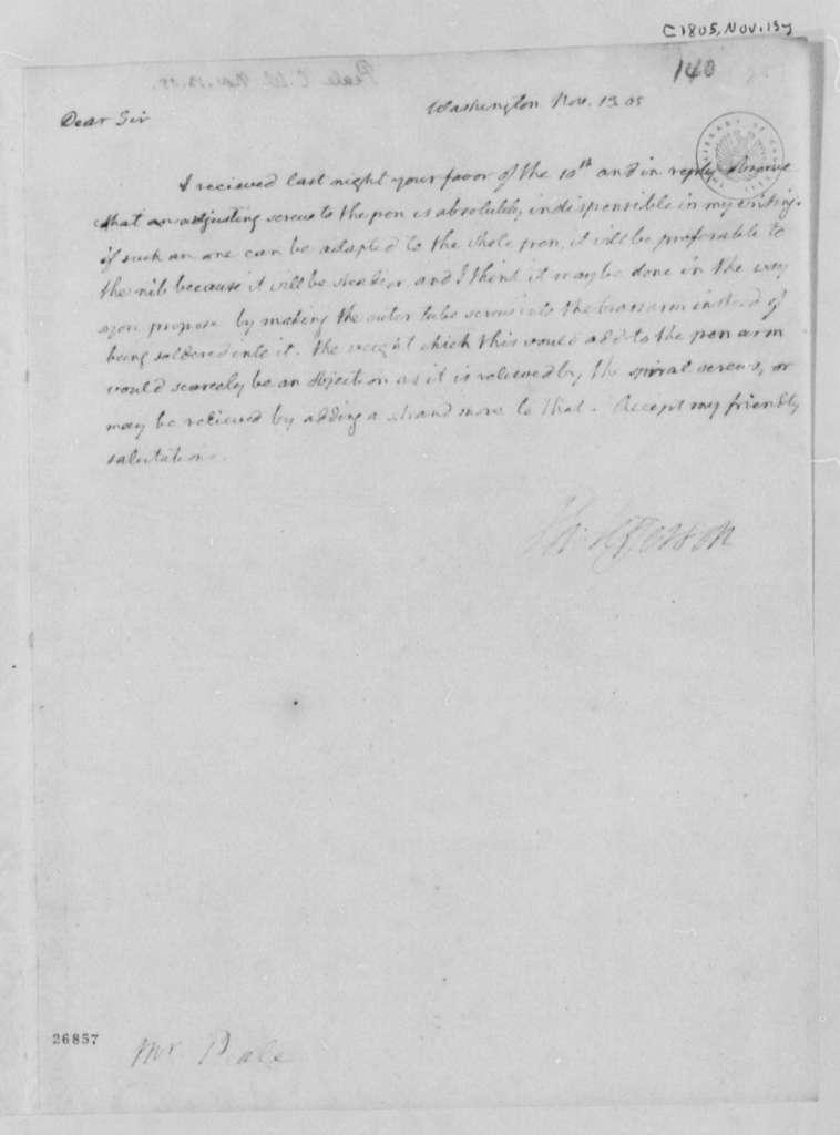 Thomas Jefferson to Charles Willson Peale, November 13, 1805