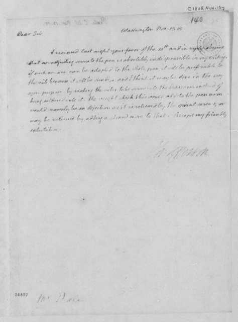 Thomas Jefferson to Charles Willson Peale, November 13, 1805