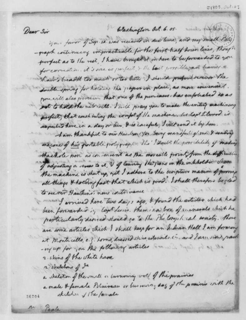 Thomas Jefferson to Charles Willson Peale, October 6, 1805