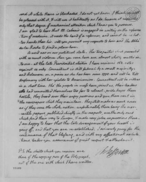Thomas Jefferson to Count de Volney, February 8, 1805