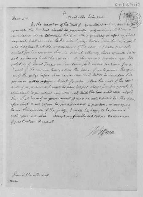 Thomas Jefferson to David Howell, July 21, 1805