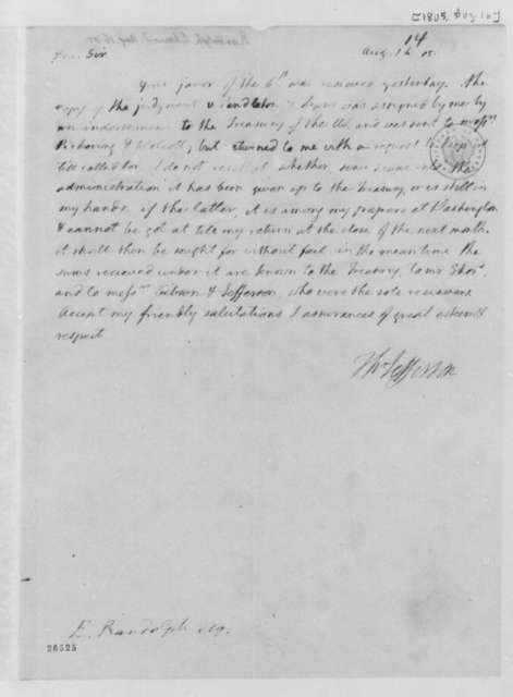Thomas Jefferson to Edmund Randolph, August 16, 1805
