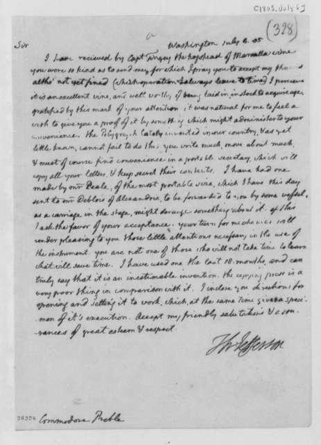 Thomas Jefferson to Edward Preble, July 6, 1805