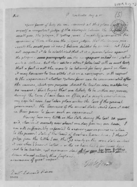 Thomas Jefferson to Edward Rowse, August 4, 1805