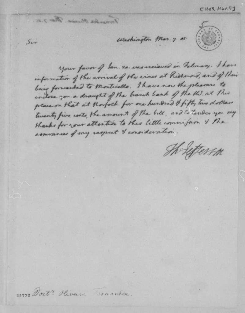 Thomas Jefferson to Fernandez Oliviera, March 7, 1805