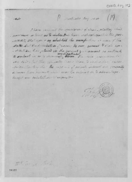 Thomas Jefferson to George White, August 18, 1805