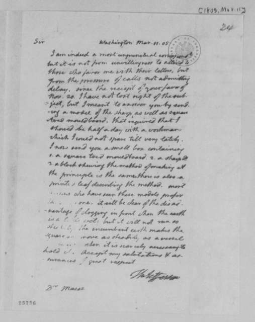 Thomas Jefferson to James Mease, March 11, 1805
