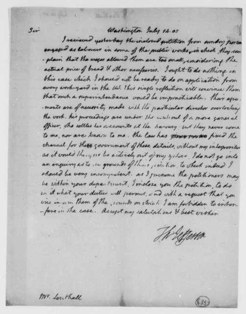 Thomas Jefferson to John Lenthall, July 14, 1805