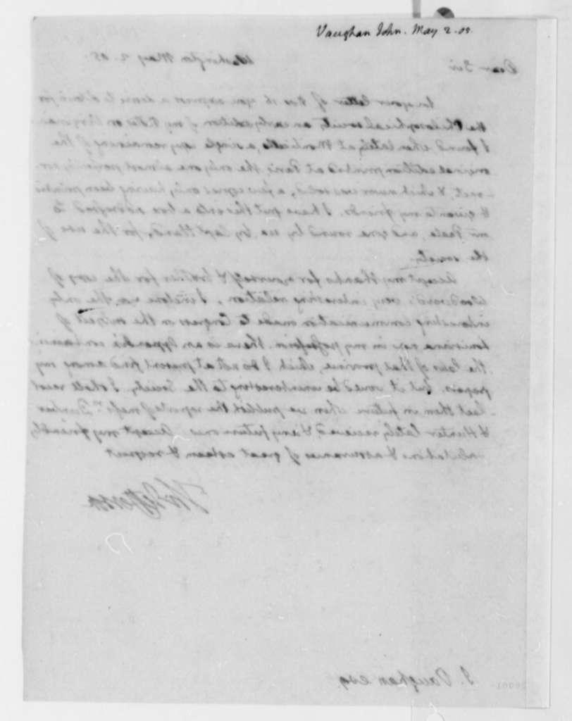 Thomas Jefferson to John Vaughan, May 2, 1805