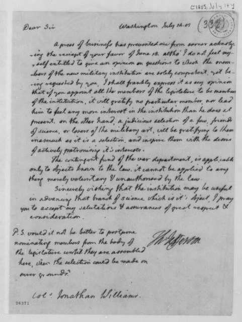 Thomas Jefferson to Jonathan Williams, July 14, 1805