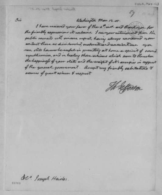 Thomas Jefferson to Joseph Heister, March 12, 1805