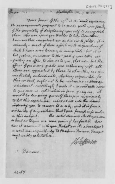 Thomas Jefferson to Justin Pierre Plumard Derieux, May 31, 1805