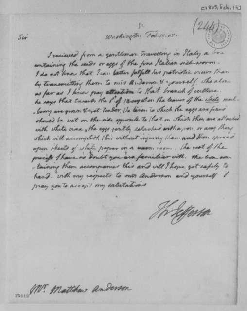 Thomas Jefferson to Matthew Anderson, February 15, 1805