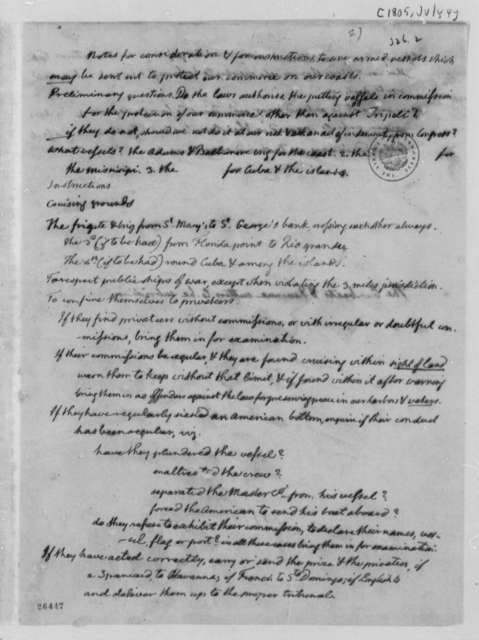 Thomas Jefferson to Navy Department, July 4, 1805, Notes