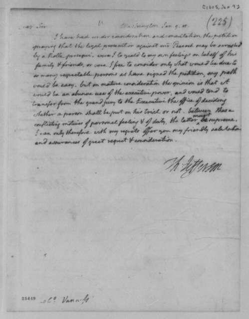 Thomas Jefferson to Peter van Ness, January 9, 1805