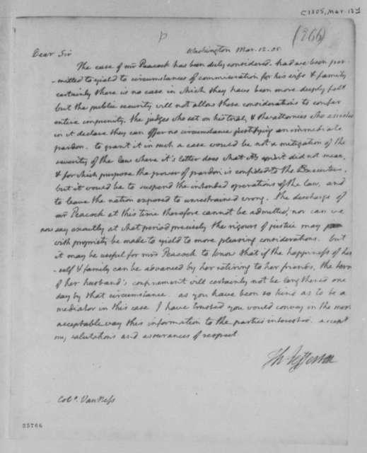Thomas Jefferson to Peter van Ness, March 12, 1805