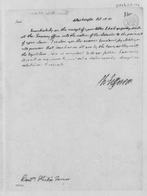 Thomas Jefferson to Philip Turner, October 18, 1805