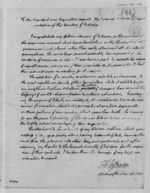 Thomas Jefferson to Representatives of Indiana Territory, December 28, 1805