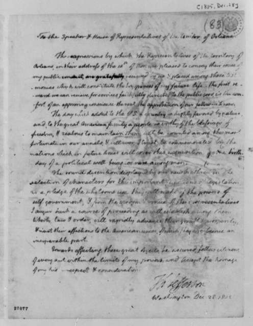 Thomas Jefferson to Representatives of Orleans Territory, December 28, 1805