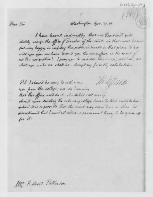 Thomas Jefferson to Robert Patterson, April 27, 1805