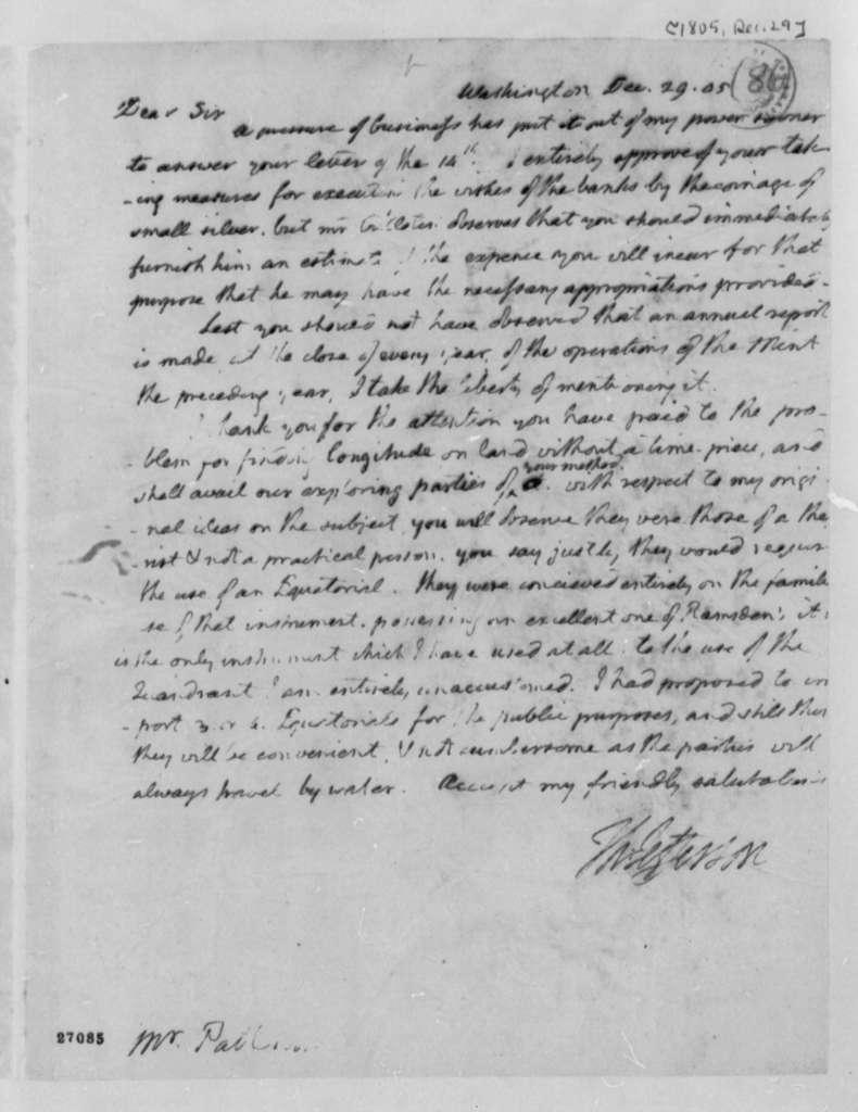 Thomas Jefferson to Robert Patterson, December 29, 1805