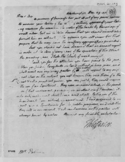 Thomas Jefferson to Robert Patterson, December 29, 1805