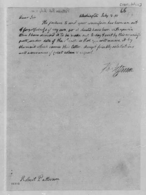 Thomas Jefferson to Robert Patterson, July 2, 1805