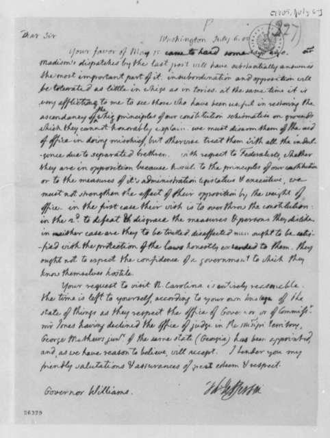 Thomas Jefferson to Robert Williams, July 6, 1805