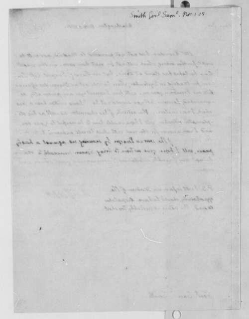 Thomas Jefferson to Samuel Smith, November 1, 1805