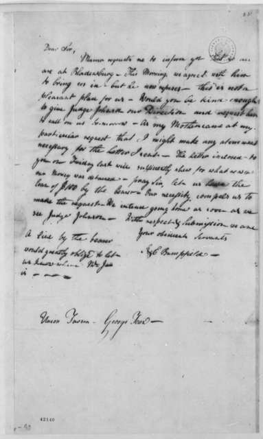 Thomas Jefferson to Sarah A. Bampfield and Elizabeth G. Bampfield, August 12, 1805, with Copy and Postscript