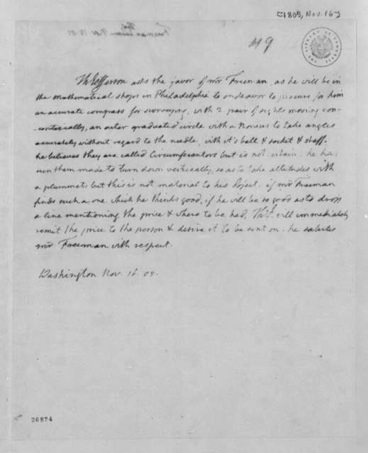 Thomas Jefferson to Thomas Freeman, November 16, 1805