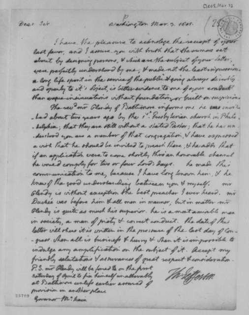 Thomas Jefferson to Thomas Mckean, March 3, 1805