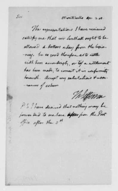 Thomas Jefferson to Unknown, April 3, 1805, Salary for John Lenthall