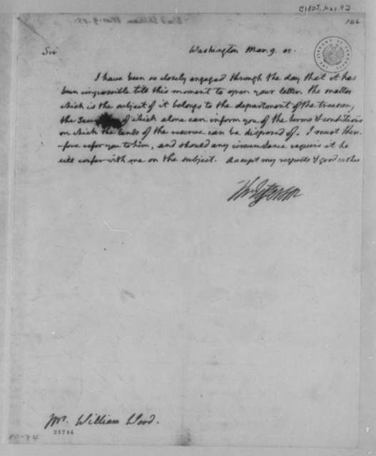 Thomas Jefferson to William Wood, March 9, 1805