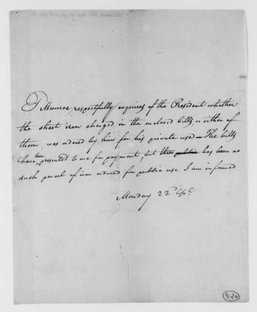 Thomas Munroe, Superintendent of the City to Thomas Jefferson, April 22, 1805