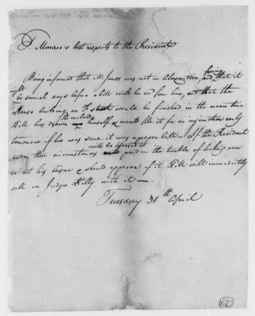 Thomas Munroe, Superintendent of the City to Thomas Jefferson, April 30, 1805
