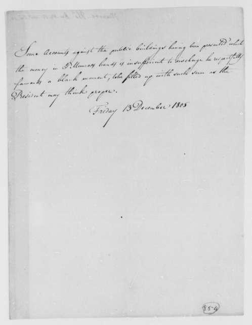 Thomas Munroe, Superintendent of the City to Thomas Jefferson, December 13, 1805