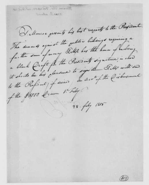 Thomas Munroe, Superintendent of the City to Thomas Jefferson, February 28, 1805