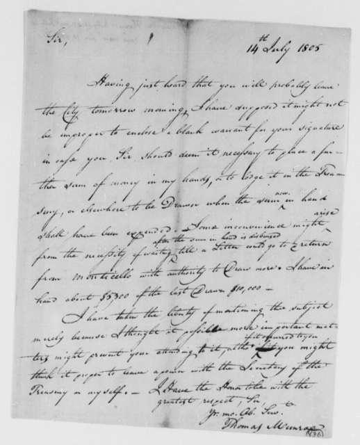 Thomas Munroe, Superintendent of the City to Thomas Jefferson, July 14, 1805