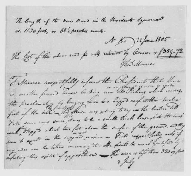 Thomas Munroe, Superintendent of the City to Thomas Jefferson, July 3, 1805