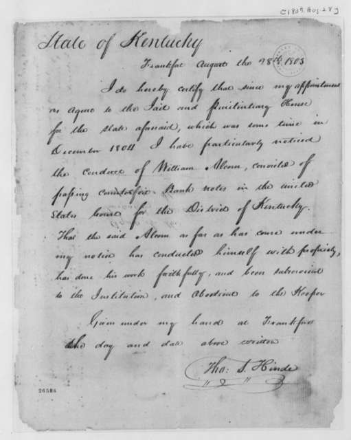 Thomas S. Hinde to State of Kentucky, August 28, 1805, Deposition on William Alcorn