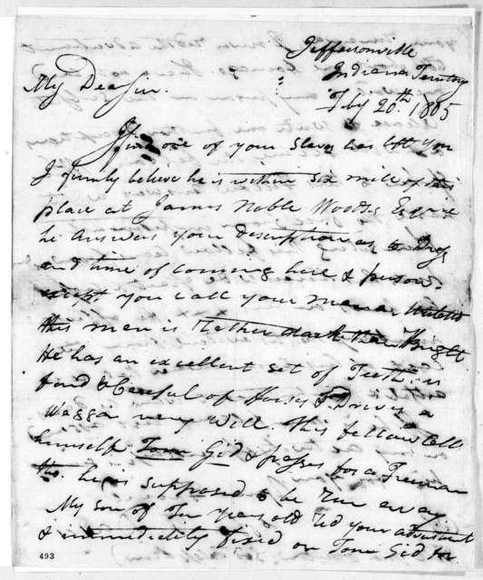 Thomas Terry Davis to Andrew Jackson, February 20, 1805
