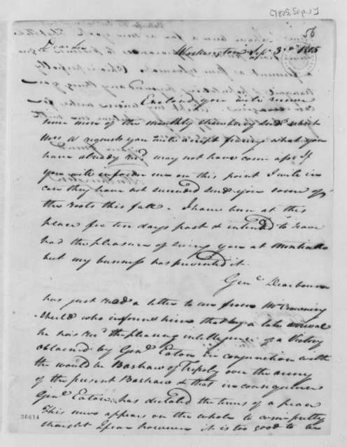 Thomas Worthington to Thomas Jefferson, September 3, 1805