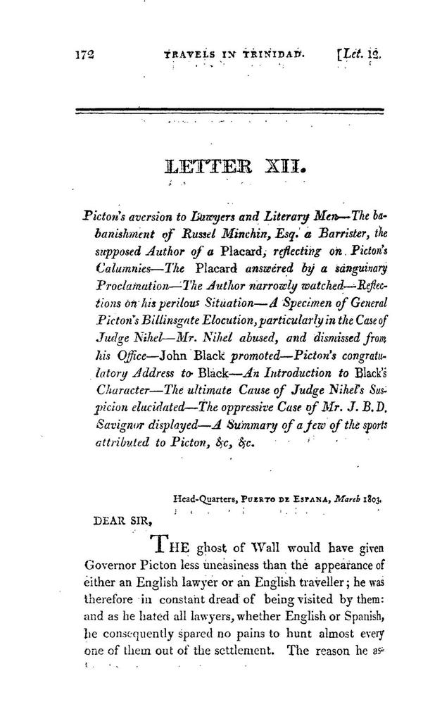 Travels in Trinidad during the months of February, March, and April, 1803, in a series of letters, addressed to a member of the imperial Parliament of Great Britain. Illustrated with a map of the island